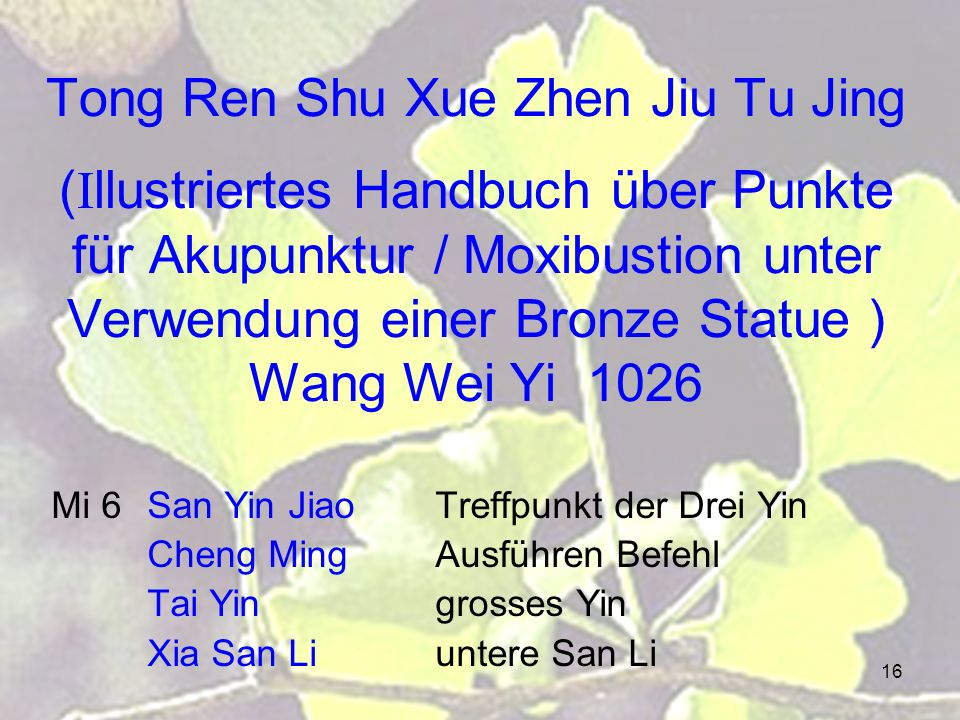 Tong Ren Shu Xue Zhen Jiu Tu Jing (Illustriertes Handbuch über Punkte für Akupunktur / Moxibustion unter Verwendung einer Bronze Statue ) Wang Wei Yi 1026