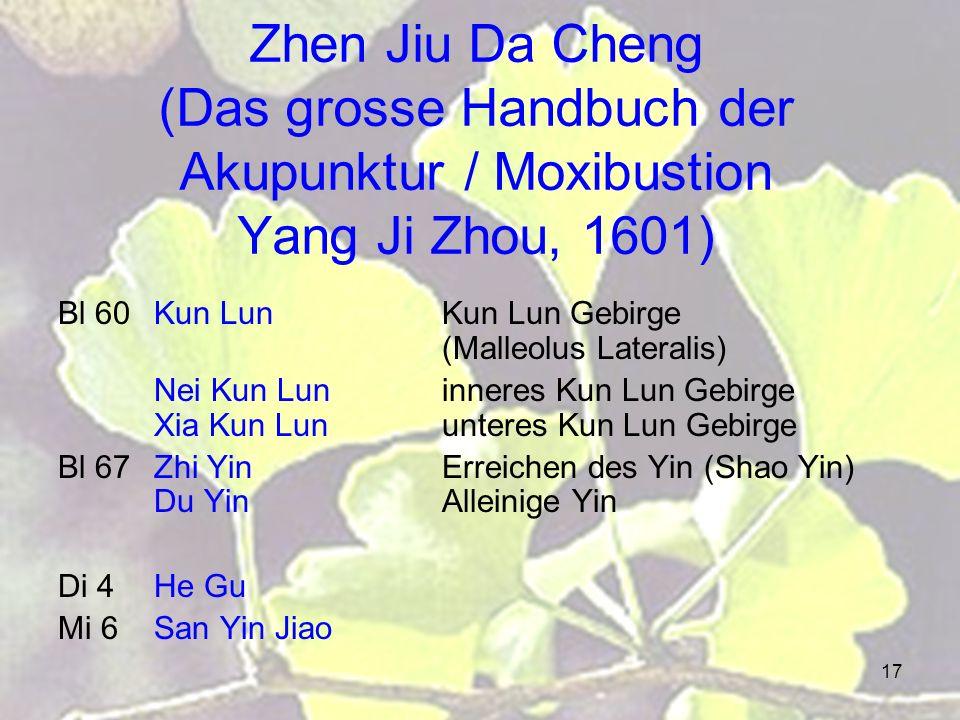 Zhen Jiu Da Cheng (Das grosse Handbuch der Akupunktur / Moxibustion Yang Ji Zhou, 1601)