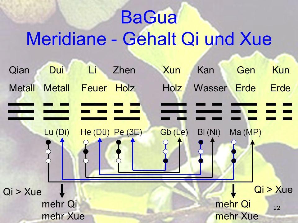 BaGua Meridiane - Gehalt Qi und Xue