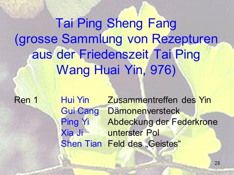 Tai Ping Sheng Fang (grosse Sammlung von Rezepturen aus der Friedenszeit Tai Ping Wang Huai Yin, 976)