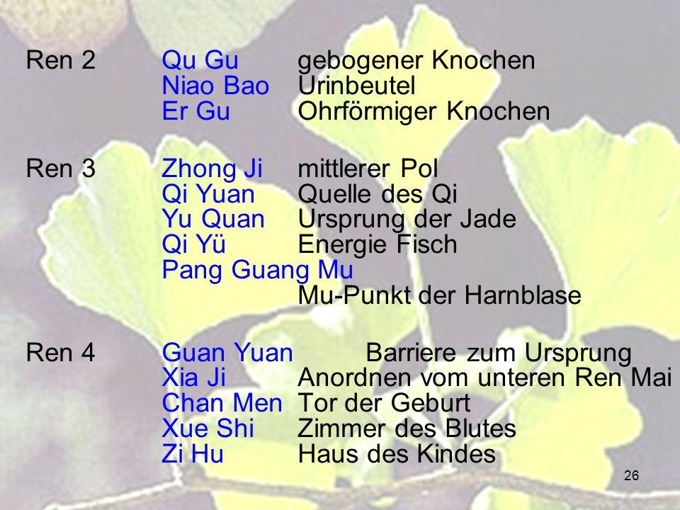 Ren 2. Qu Gu. gebogener Knochen. Niao Bao. Urinbeutel. Er Gu