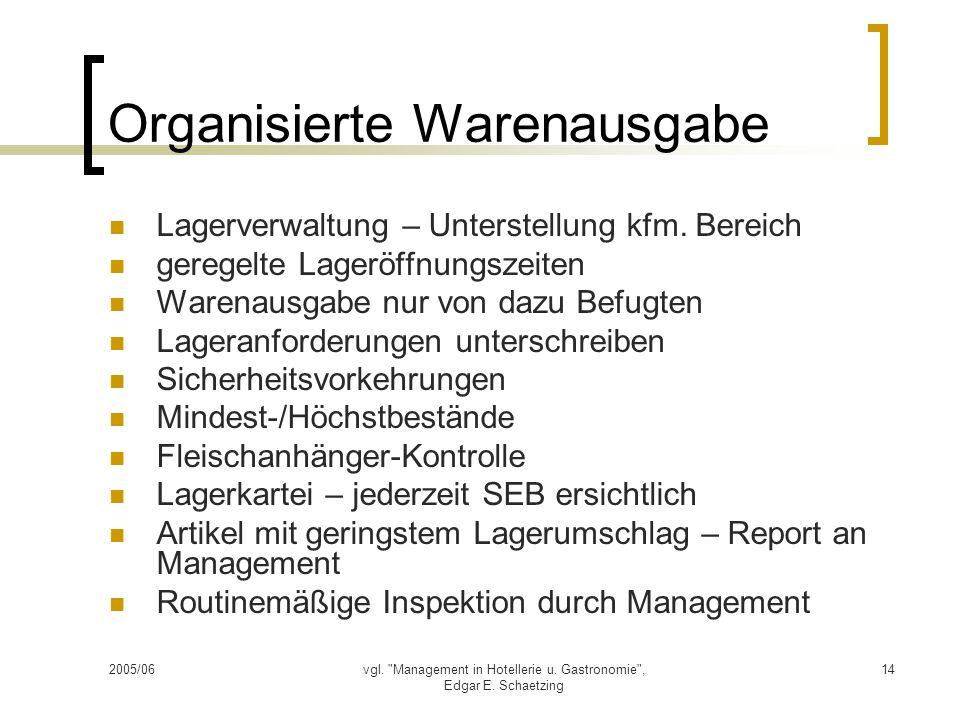 Organisierte Warenausgabe