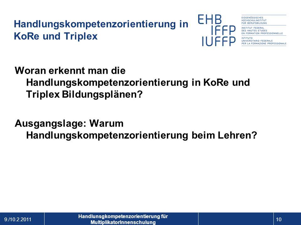 Handlungskompetenzorientierung in KoRe und Triplex