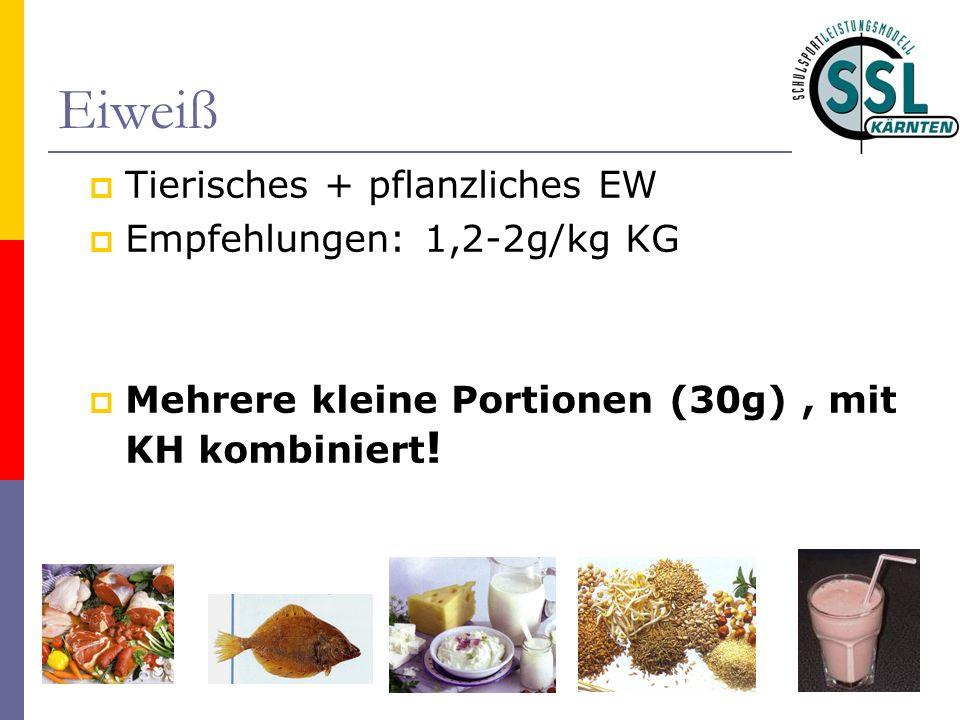 Eiweiß Tierisches + pflanzliches EW Empfehlungen: 1,2-2g/kg KG