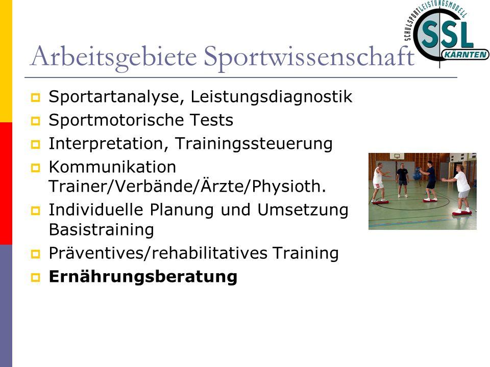 Arbeitsgebiete Sportwissenschaft