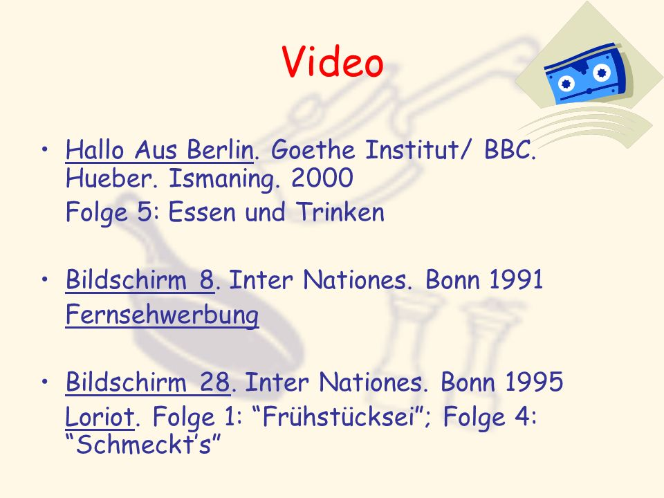 Video Hallo Aus Berlin. Goethe Institut/ BBC. Hueber. Ismaning. 2000