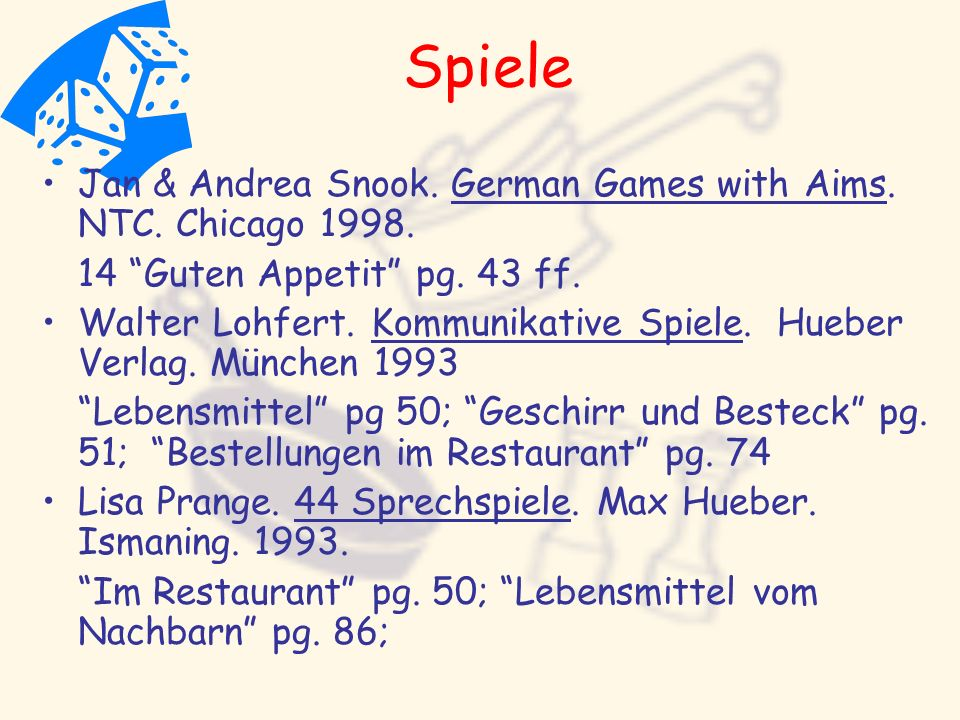 Spiele Jan & Andrea Snook. German Games with Aims. NTC. Chicago 1998.