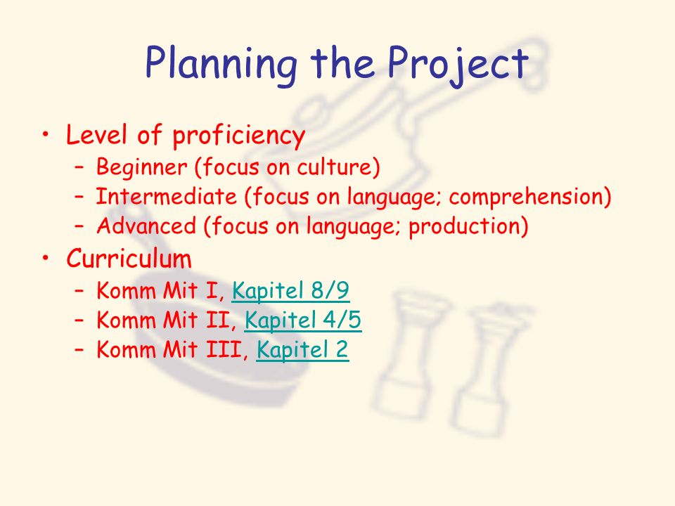 Planning the Project Level of proficiency Curriculum
