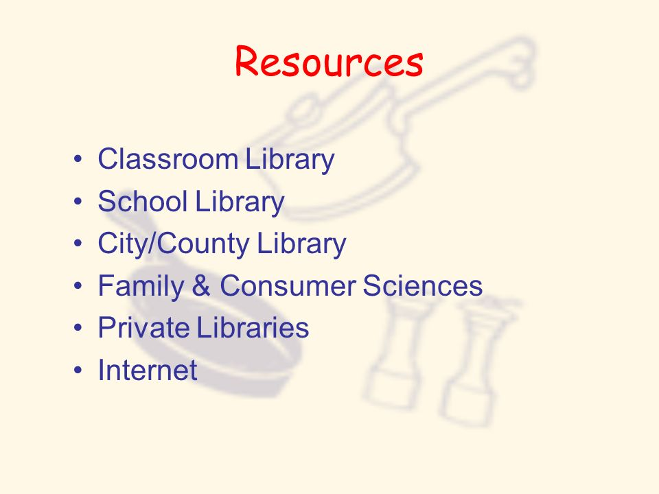Resources Classroom Library School Library City/County Library