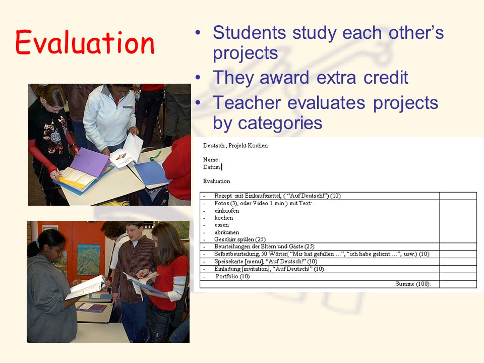 Evaluation Students study each other's projects