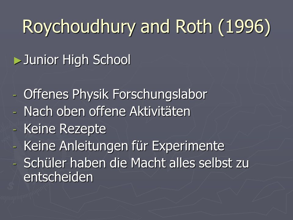 Roychoudhury and Roth (1996)