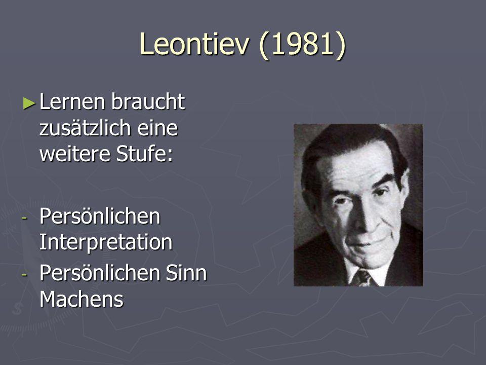 Leontiev (1981) Lernen braucht zusätzlich eine weitere Stufe: