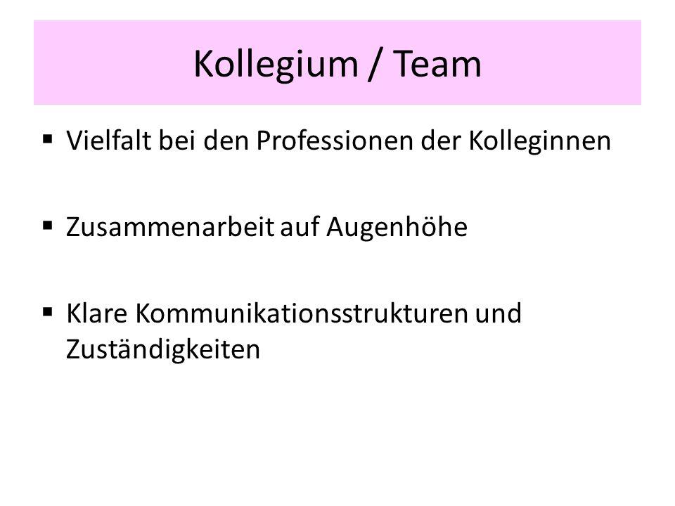 Kollegium / Team Vielfalt bei den Professionen der Kolleginnen