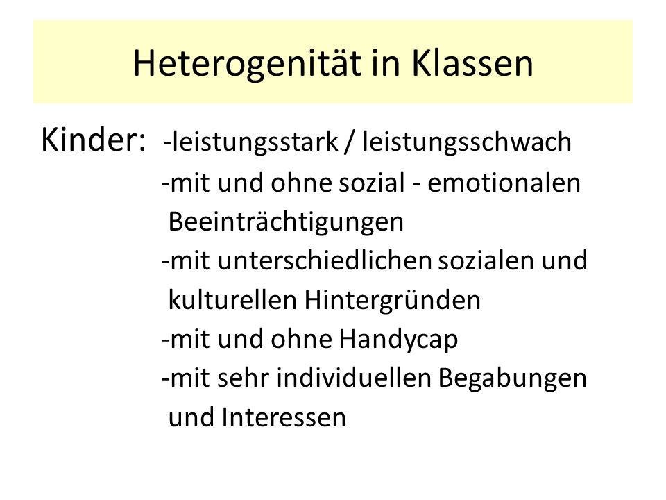 Heterogenität in Klassen