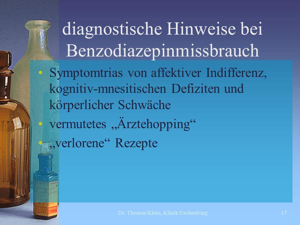 diagnostische Hinweise bei Benzodiazepinmissbrauch