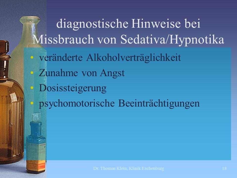 diagnostische Hinweise bei Missbrauch von Sedativa/Hypnotika