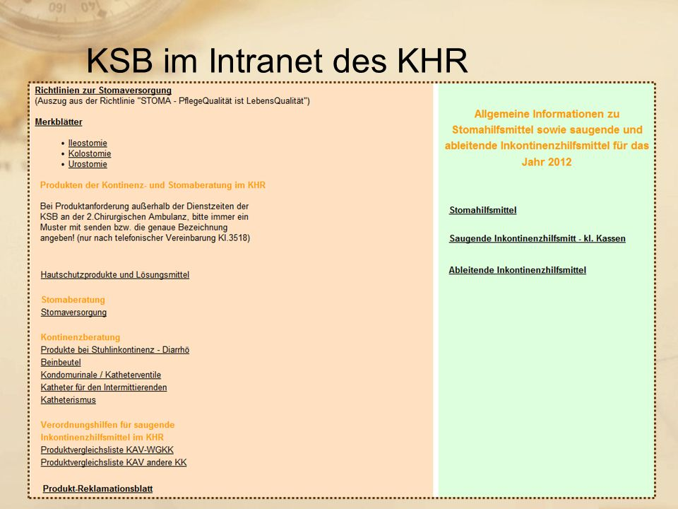 KSB im Intranet des KHR