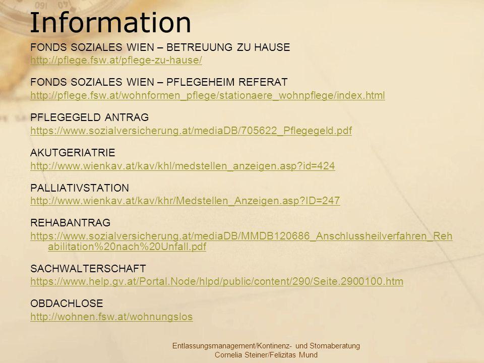 Information FONDS SOZIALES WIEN – BETREUUNG ZU HAUSE