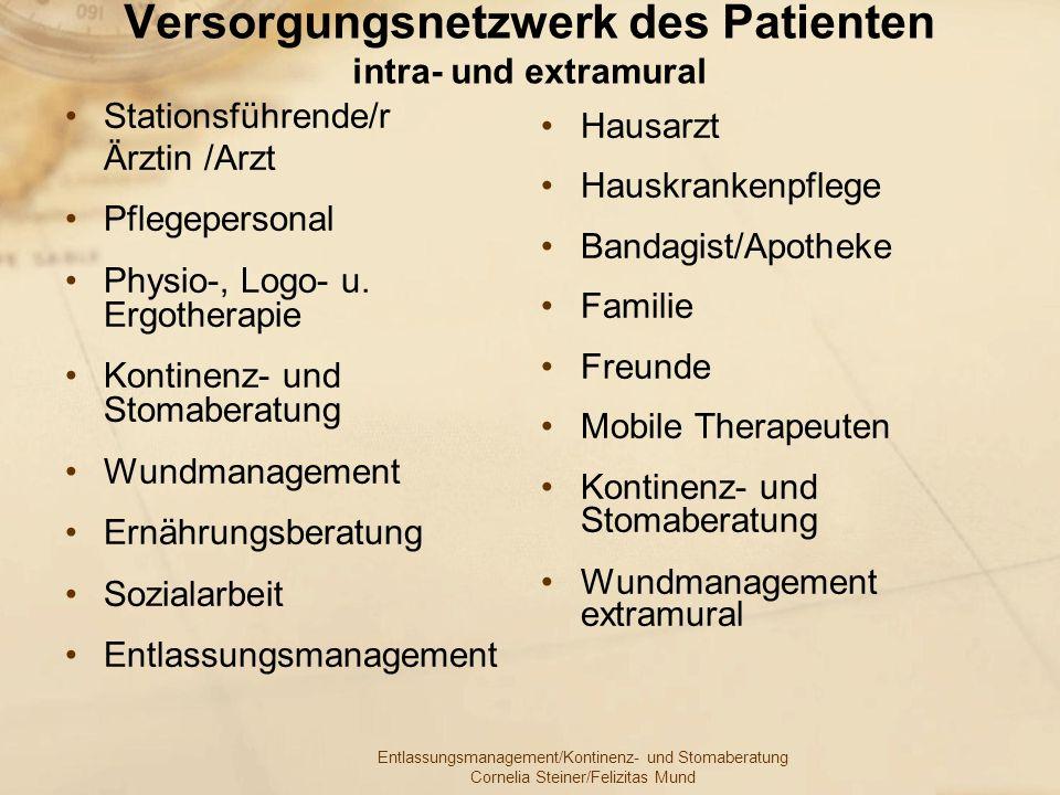 Versorgungsnetzwerk des Patienten intra- und extramural