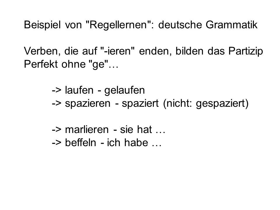 Beispiel von Regellernen : deutsche Grammatik