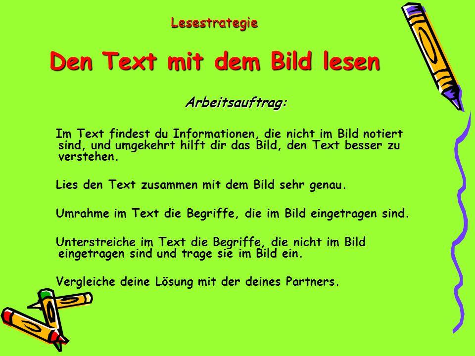 Lesestrategie Den Text mit dem Bild lesen