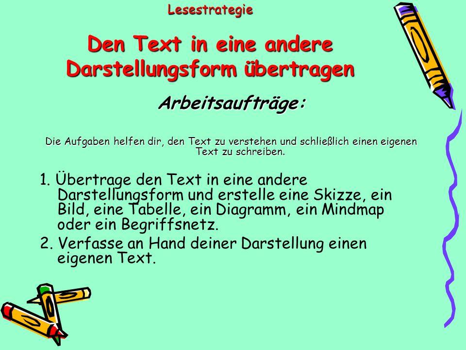 Lesestrategie Den Text in eine andere Darstellungsform übertragen