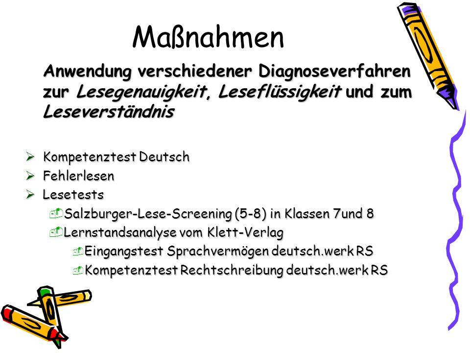 Maßnahmen Anwendung verschiedener Diagnoseverfahren zur Lesegenauigkeit, Leseflüssigkeit und zum Leseverständnis.