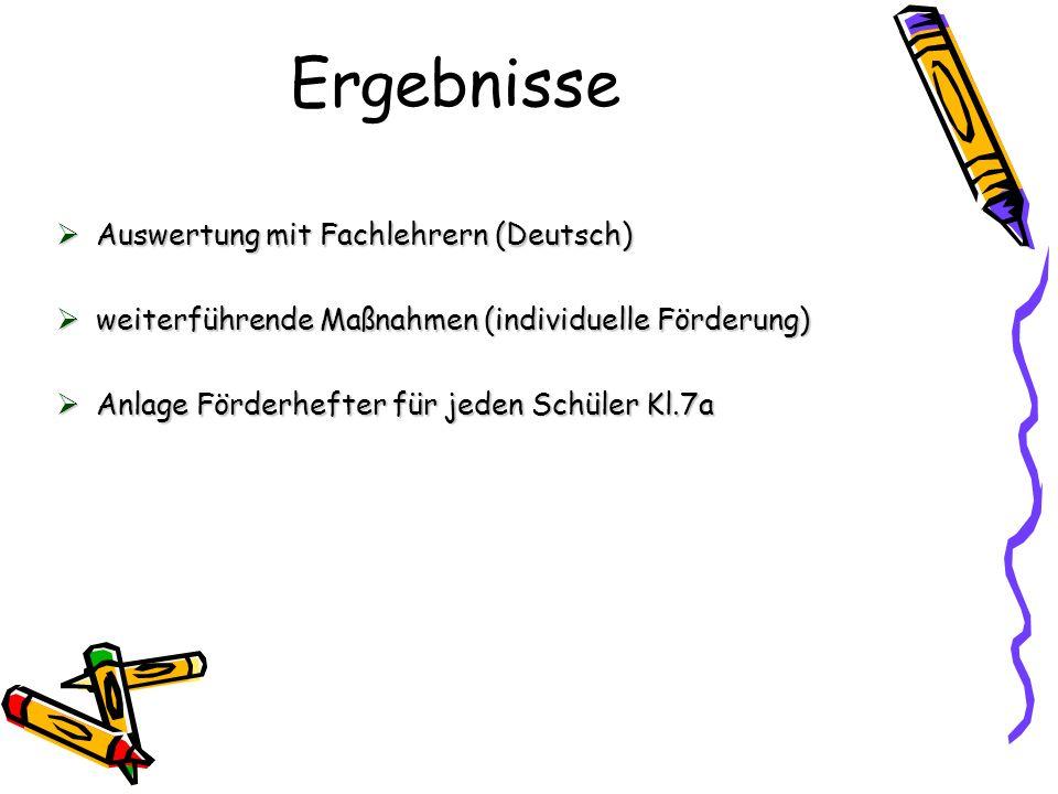 Ergebnisse Auswertung mit Fachlehrern (Deutsch)