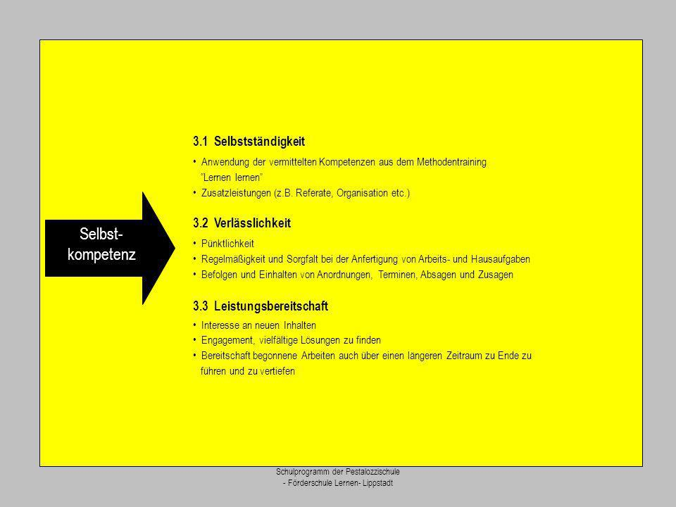 Selbst- kompetenz 3.1 Selbstständigkeit 3.2 Verlässlichkeit
