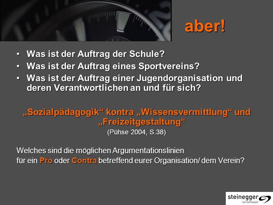 """""""Sozialpädagogik kontra """"Wissensvermittlung und """"Freizeitgestaltung"""