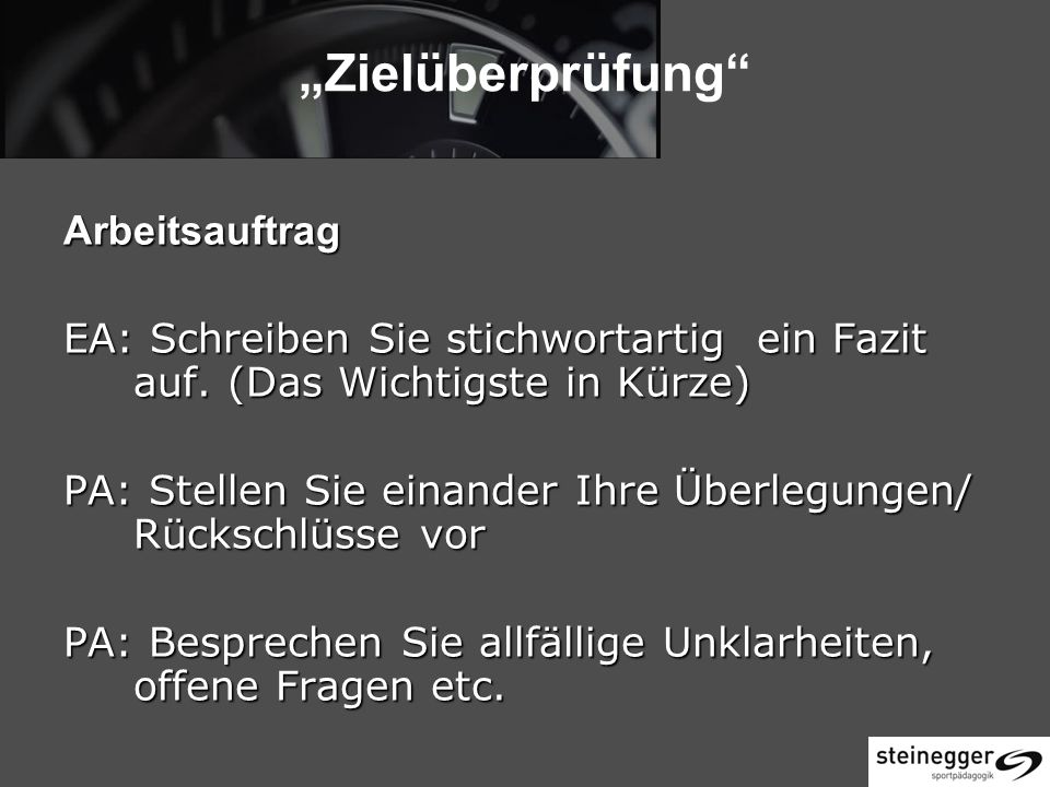 """""""Zielüberprüfung Arbeitsauftrag"""