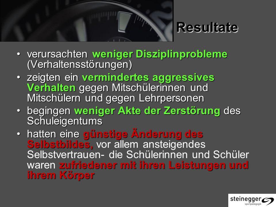Resultate verursachten weniger Disziplinprobleme (Verhaltensstörungen)