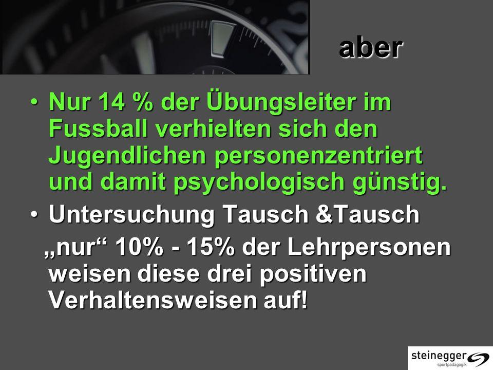 aber Nur 14 % der Übungsleiter im Fussball verhielten sich den Jugendlichen personenzentriert und damit psychologisch günstig.