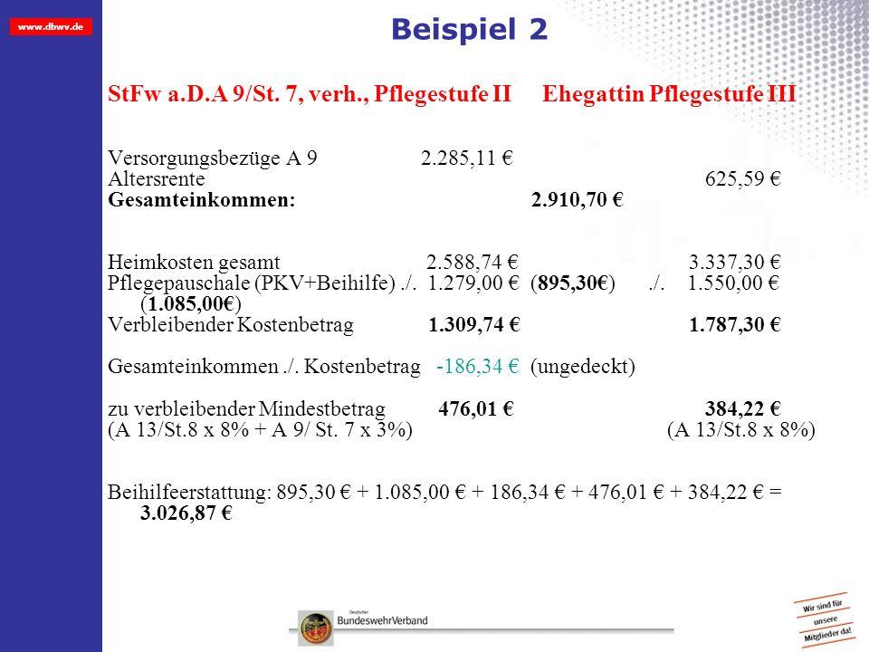 Beispiel 2 StFw a.D.A 9/St. 7, verh., Pflegestufe II Ehegattin Pflegestufe III. Versorgungsbezüge A 9 2.285,11 €