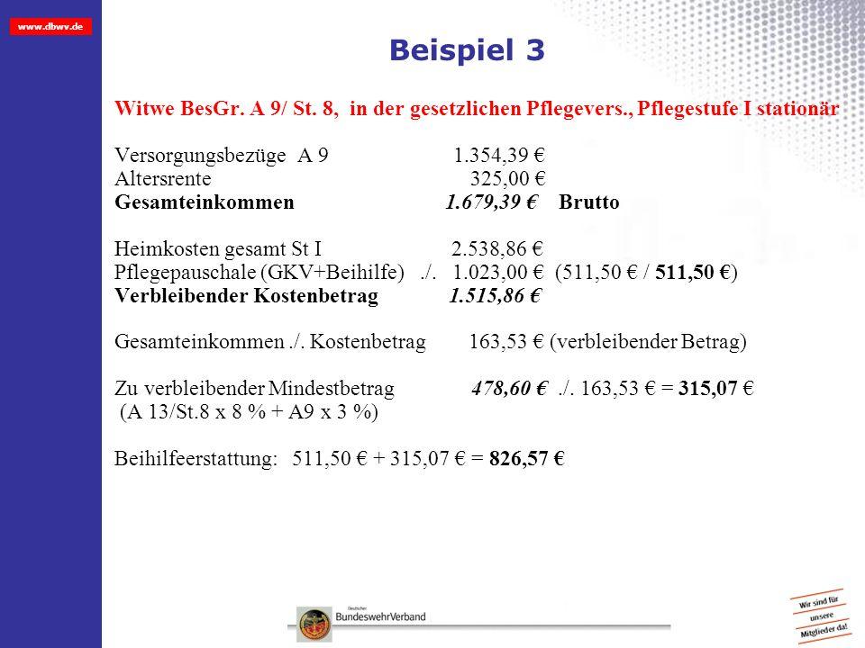 Beispiel 3 Witwe BesGr. A 9/ St. 8, in der gesetzlichen Pflegevers., Pflegestufe I stationär.