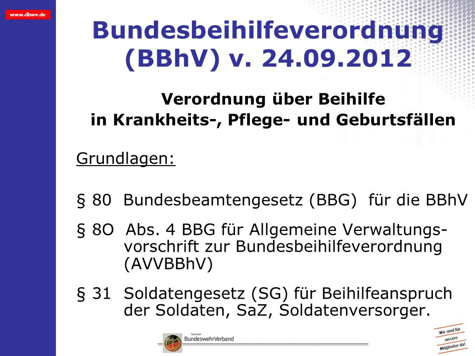 Bundesbeihilfeverordnung (BBhV) v. 24.09.2012