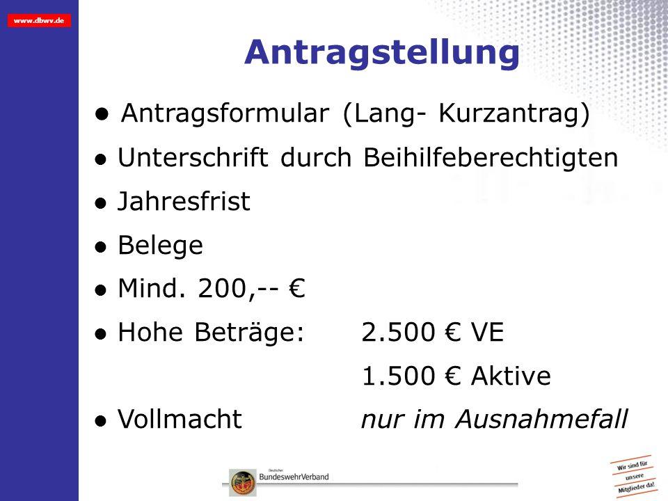 Antragstellung Antragsformular (Lang- Kurzantrag)