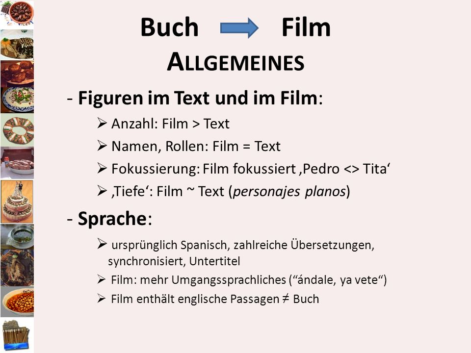 Buch Film Allgemeines - Figuren im Text und im Film: - Sprache: