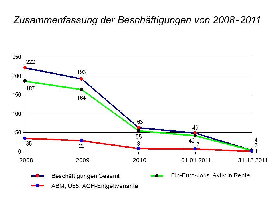 Zusammenfassung der Beschäftigungen von 2008 - 2011