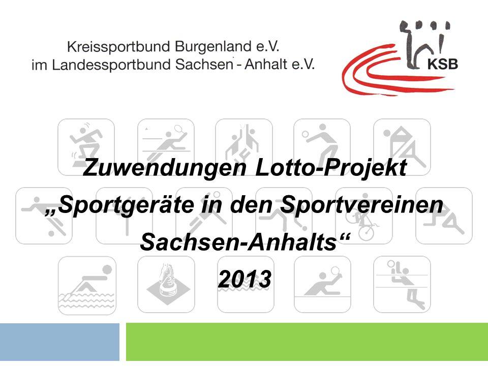 """Zuwendungen Lotto-Projekt """"Sportgeräte in den Sportvereinen"""