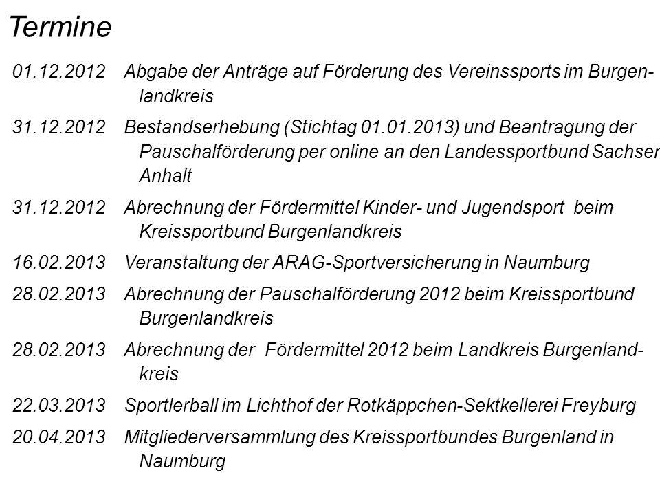 Termine 01.12.2012 Abgabe der Anträge auf Förderung des Vereinssports im Burgen- landkreis.