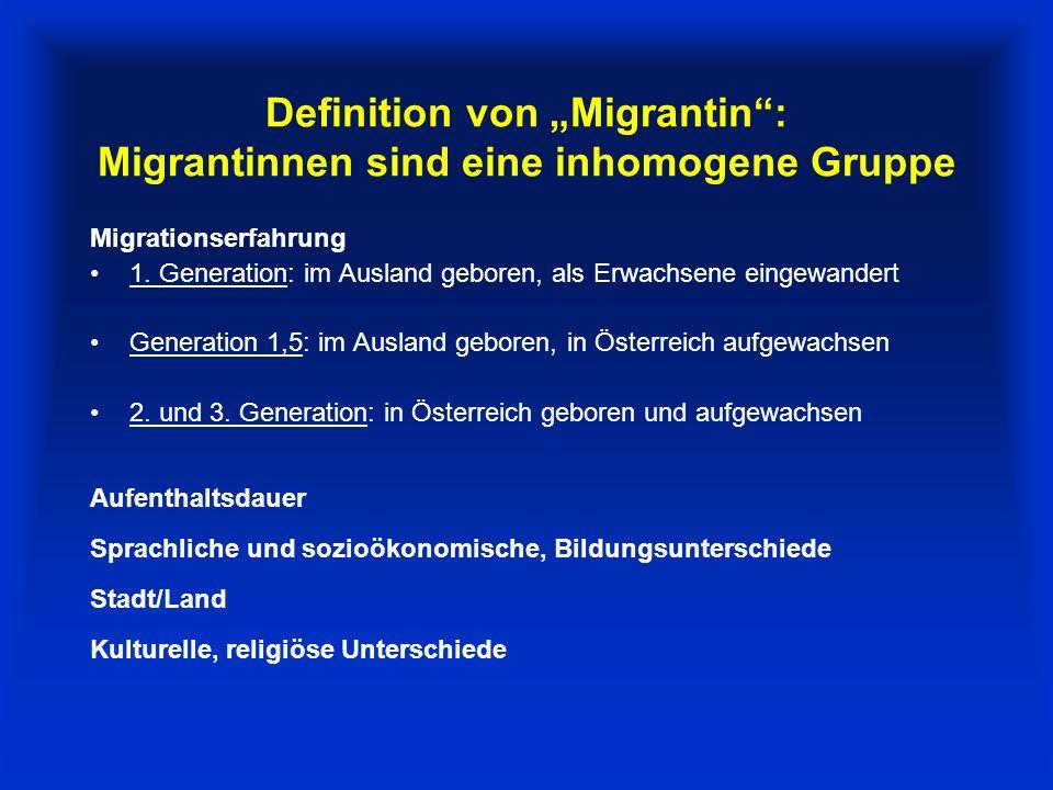 """Definition von """"Migrantin : Migrantinnen sind eine inhomogene Gruppe"""