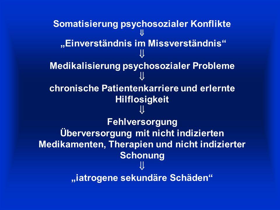"""Somatisierung psychosozialer Konflikte  """"Einverständnis im Missverständnis  Medikalisierung psychosozialer Probleme  chronische Patientenkarriere und erlernte Hilflosigkeit  Fehlversorgung Überversorgung mit nicht indizierten Medikamenten, Therapien und nicht indizierter Schonung  """"iatrogene sekundäre Schäden"""
