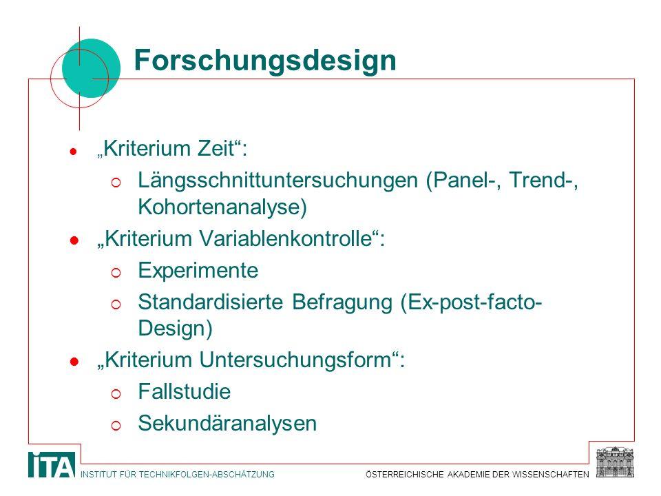 """Forschungsdesign """"Kriterium Zeit : Längsschnittuntersuchungen (Panel-, Trend-, Kohortenanalyse) """"Kriterium Variablenkontrolle :"""