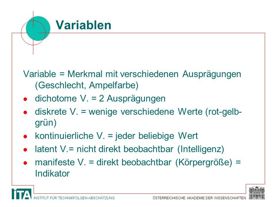 Variablen Variable = Merkmal mit verschiedenen Ausprägungen (Geschlecht, Ampelfarbe) dichotome V. = 2 Ausprägungen.