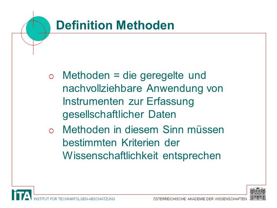 Definition Methoden Methoden = die geregelte und nachvollziehbare Anwendung von Instrumenten zur Erfassung gesellschaftlicher Daten.