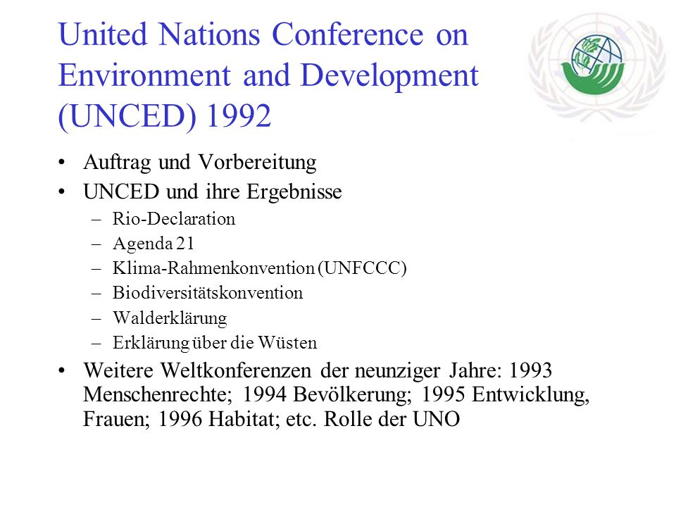 United Nations Conference on Environment and Development (UNCED) 1992
