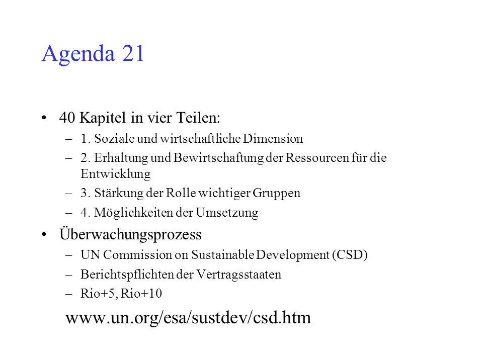 Agenda 21 www.un.org/esa/sustdev/csd.htm 40 Kapitel in vier Teilen: