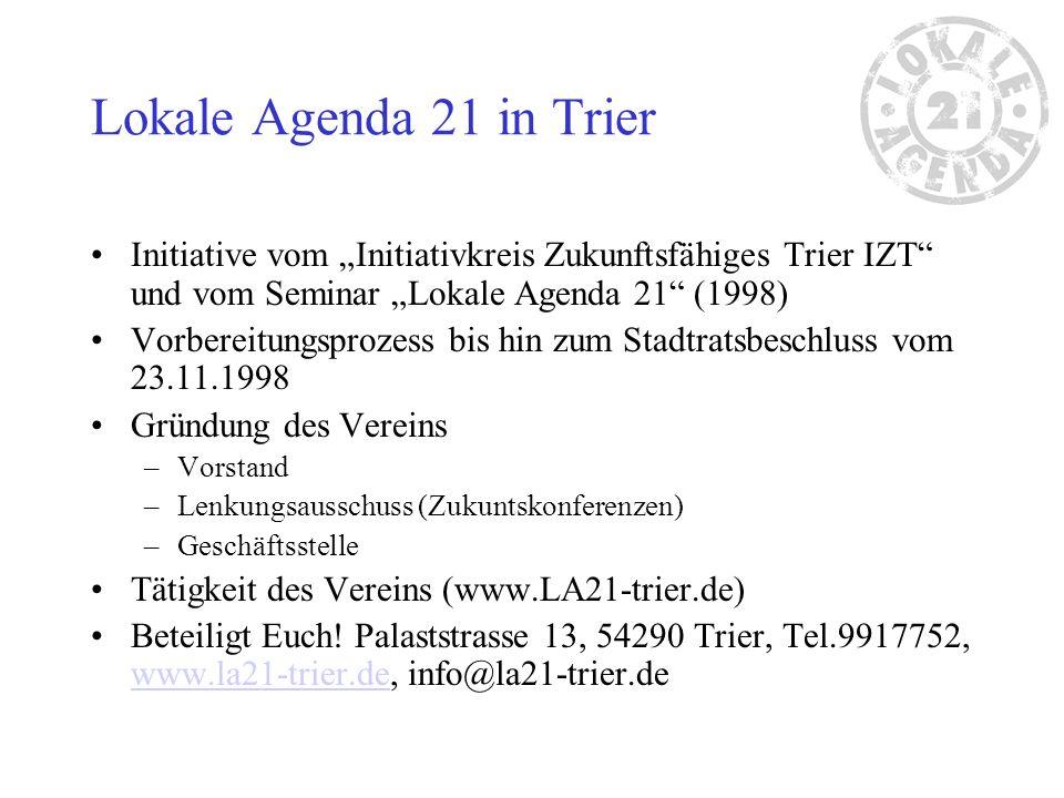 """Lokale Agenda 21 in Trier Initiative vom """"Initiativkreis Zukunftsfähiges Trier IZT und vom Seminar """"Lokale Agenda 21 (1998)"""