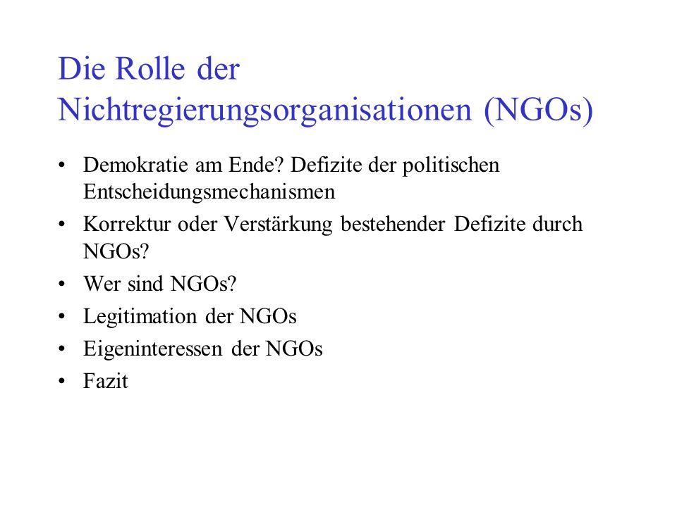Die Rolle der Nichtregierungsorganisationen (NGOs)